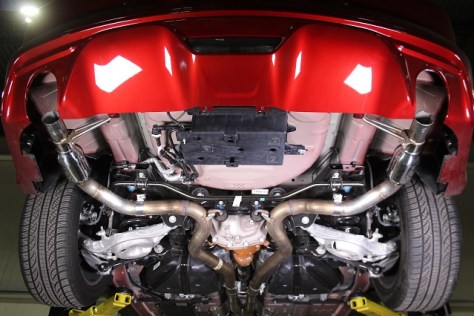 Prototype 2015 Mustang GT exhaust with small mufflers