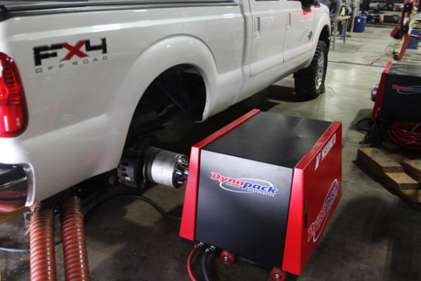 Our 6.7 F-250 Super Duty test vehicle on the dyno.