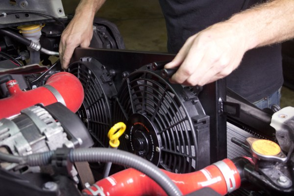 The install is a breeze; the Mishimoto BRZ fan shroud snaps easily into place.