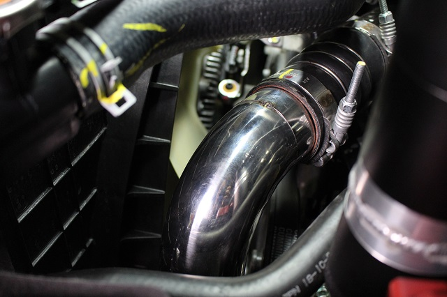 Titan XD hot-side intercooler pipe installed