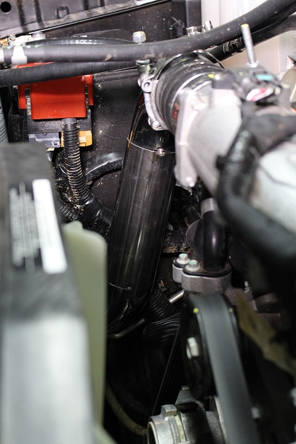 Titan XD cold-side intercooler pipe installed