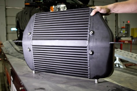 The Mishimoto 2011-14 F150 EcoBoost Intercooler from the front.