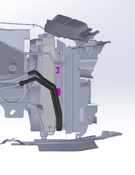 Side-view of Mustang GT trans cooler