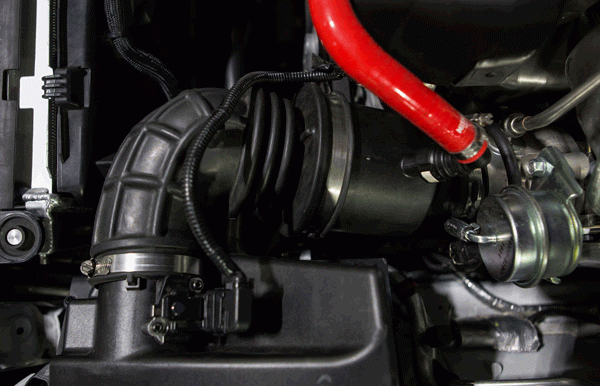Before and after installation of the silicone induction hose.