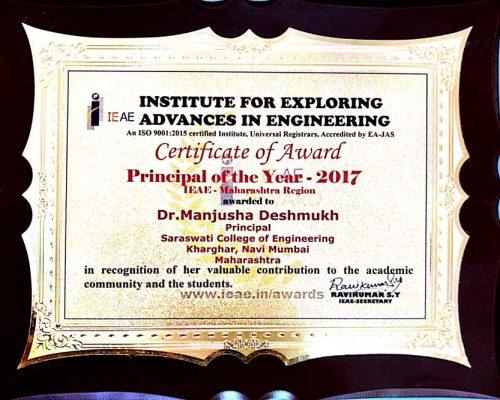 Saraswati College Principal of the Year-2017-by IEAE