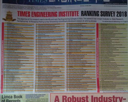 Times Engineering Institute Ranking Survey 2018