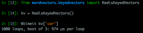 "Loading the word vector for the word ""car"" from the Redis database"