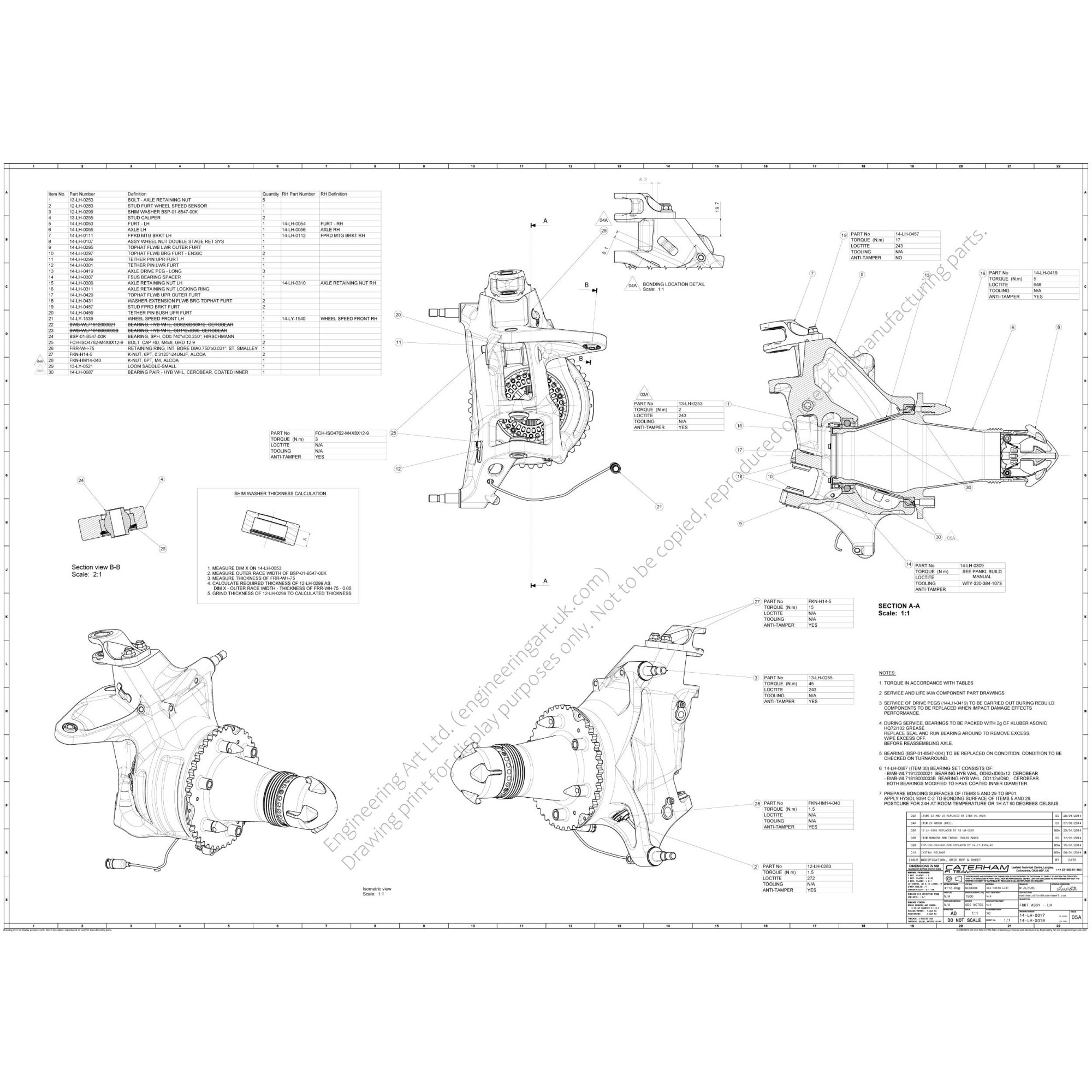 hight resolution of a0 size drawing showing the front suspension upright assembly for the caterham ct05 formula 1 car design engineer matthew alford