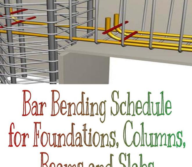 Bar Bending Schedule for Foundations, Columns, Beams and Slabs