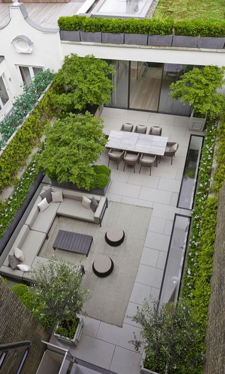 16 Inspirational Backyard Landscape Designs As Seen From Above __ This space is more a patio than a .