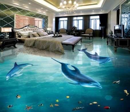 3D Dolphin Swimming 032 Floor Mural _ AJ Wallpaper