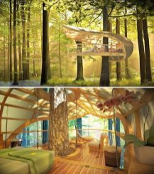 Amazing hanging treehouse merges with nature