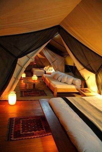 Attic converted to an indoor camp _ the grands would love this in the spring time_