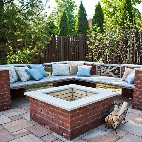 Brick fire pit with benches _firepits _FirePitsRock _backyards _Patio