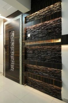 Custom Wooden Door with Stone Wall