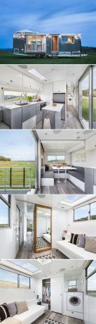 Designed by architect Matthew Hofmann_ the Living Vehicle is an all_aluminum tiny house capable of s.