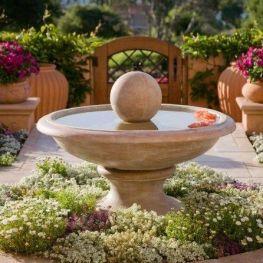 Elegant Mediterranian Inspired Fountain Bed _frontyardlandscaping _landscapingideas _fountaindecor _