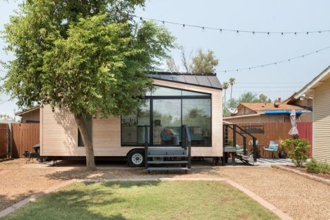 Entire home_apt in Phoenix_ United States. Welcome to The Nest Tiny House. Experience minimal living in a bright_ stylish_ modern tiny house on wheels with an artsy and homey vibe. Be i