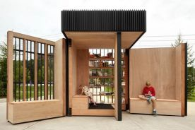 Expandable Lending Libraries _ This Pop_Up Library Kiosk Opens Up to Create a Public Reading Space (