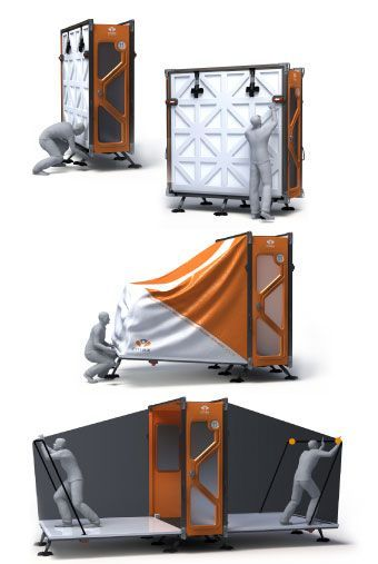 Housing the Displaced CMAX _ an emergency shelter that combines advantages of tents with those of tr. It ships and stores flat like a tent_ and two people can set one up in 11 minutes.