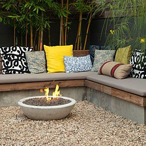 Love the seating_ Option for back porch... 7 ways to transform a small backyard _ Built_in warmth _ Sunset.com
