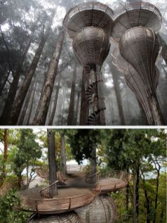 Roost Treehouse. It is designed to copy the natural curves found in nature. The purpose was to build a treehouse t