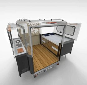 The brand_new Tipoon camper can sleep a family of four_ fit in most garages_ and expands at a push o.