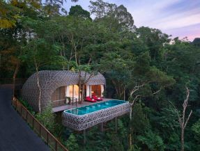 The free_form Bird's Nest Pool Villas are woven from environmentally friendly wood and plastic. See more incredibl