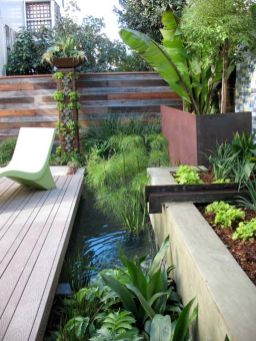 This industrial water feature is gorgeous_ I think my dad would totally love the reclaimed_steel_bea. _PinMyDreamBackyard