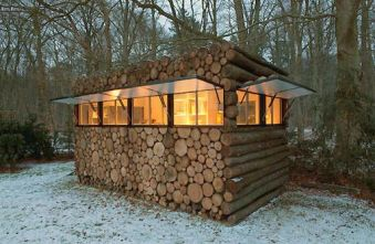 Tiny Log Cabin__Would make a perfect reading_writing retreat. (Too bad the interior doesn_t mirror the exterior_ t