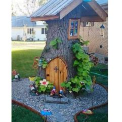 Tree Stump Fairy and Gnome house_ Creative ways to add color and joy to a garden_ porch_ or yard wit. Fun ideas fo