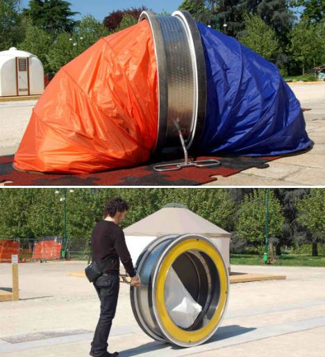 WheelLY Recycled Homeless Shelter Portable and temporary_ this unusual_looking design by Italian fir