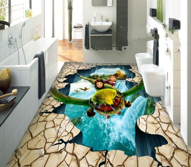 Amazing 3D Floor Mural For Living Room, Bathroom & Bedroom Design