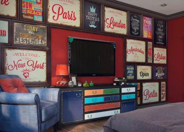 How to decorate wall around tv