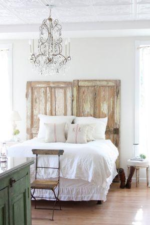 Bohemian-bedroom-with-old-doors-for-headboard