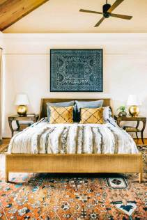 Eclectic-Bedroom-With-Blue-Art