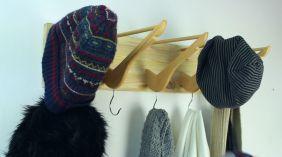 Entryway-Coat-rack-from-wooden-hangers