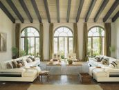 Spanish-interior-with-green-drapes-and-arched-windows