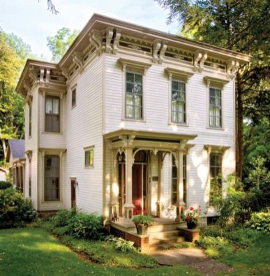 Victorian-Style-House-Exterior-With-Red-front-door