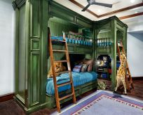 traditional-bunk-beds-furniture-green-paint