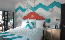 white-blue-gray-chevron-above-bed