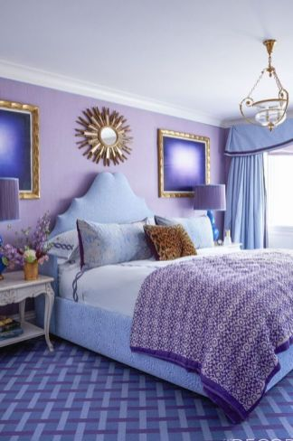 a-bright-purple-bedroom-with-gold-details-a-pretty-pendant-lamp-some-refined-nightstands-and-a-sunburst-mirror