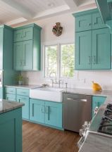 a-fun-turquoise-and-white-kitchen-with-a-yellow-accent-is-a-lovely-idea-for-a-beach-house-or-just-for-a-seaside-home