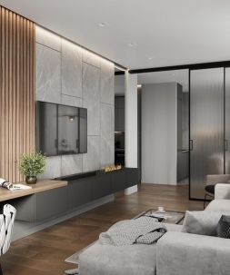 a-very-minimalist-grey-wall-mounted-storage-unit-with-a-built-in-fireplace-is-a-very-stylish-and-cool-idea
