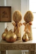 gilded-pears-and-wheat-bundles-with-silk-bows-are-adorable-rustic-decor-for-fall-or-Thanksgiving