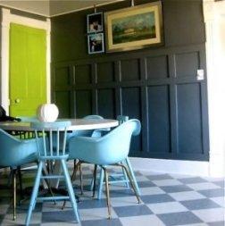 green-door-black-wainscotting-penelopes-pad-interior-door-design-ideas-298x300