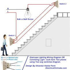 Off Delay Timer Wiring Diagram Air Compressor Hook Up Diagrams How To Control A Lamp / Light Bulb From Two Places Using Way Switches For Staircase Lighting ...
