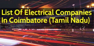 List Of Electrical Companies In Coimbatore (Tamil Nadu)