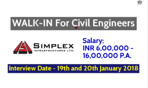Simplex Infrastructures Ltd WALK-IN For Civil Engineers - Interview Date - 19th and 20th January 2018