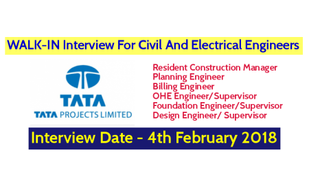 Tata Projects Limited WALK-IN Interview For Civil And Electrical Engineers - Interview Date - 4th February 2018
